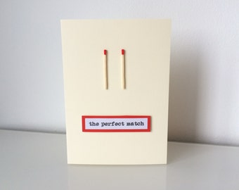 Handmade The Perfect Match Card - Engagement, Wedding or Anniversary