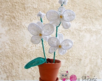 Handmade orchids, crochet white and purple orchid, handmade flowers for mother's day, cotton orchids, wedding bouquet, crochet flowers