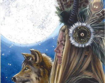 Viking ACEO Wolf ACEO Moon Art ATC Native American Art Wolf Art Viking Woman