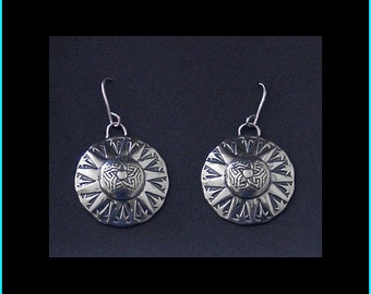 SuperNova  Concho Earrings: Handcrafted, Sterling Silver, Overlay Style, Dangle Earrings