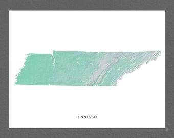 Tennessee Map Print, Tennessee State, Aqua, TN Landscape Art