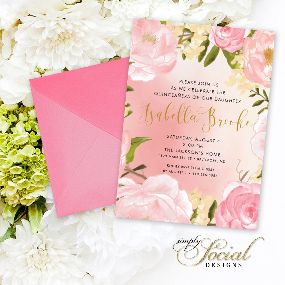 quinceaera invitation birthday peony flowers blush pink and gold sweet 15 custom personalized printable