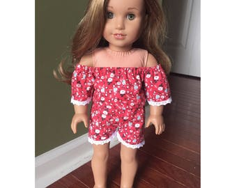 Red Floral Romper made to fit 18 inch dolls such as American Girl dolls