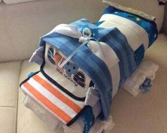 4 x 4 Diaper Monster Truck Cake/Diaper Cake/Baby Shower Centerpiece/Baby Boy Gift