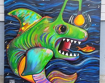 The Chase is On; Large Original Painting from Missoula, MT. Artwork of an anglerfish hunting; deep sea, ocean, water, bright colors, swiming