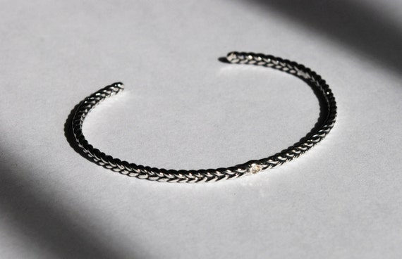 Solid Sterling Silver Tiny Diamond Thin Braid Stacking Bracelet