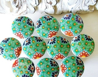 SALE15 8 wooden drawer knobs; Talavera design  hand decorated (decoupaged)1 1/2 inches 8 knobs