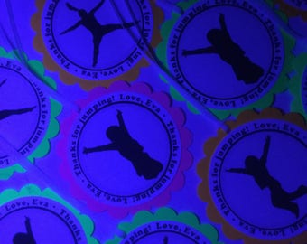 Black light neon party tags