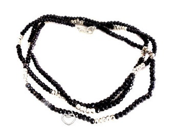 "Gemstone Beaded Chain with Heart Charm -- Finished 24""  Black Spinel and Silver Pyrite Bead Chain with Silver Lobster Clasp"