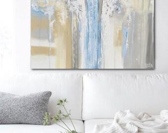 GICLEE PRINT Art Abstract Angel Painting Acrylic Painting Home Decor Christmas Gift Wall Decor Grey Blue Spiritual Angels Christine Krainock