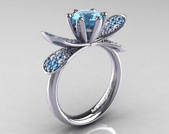 14K White Gold 1.0 Ct Blue Topaz Diamond Nature Inspired Engagement Ring Wedding Ring R671-14KWGDBT
