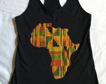 Black Kente Africa Tank