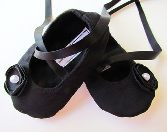 All Black Baby Shoes - Soft Ballerina Slippers (Cotton) Baby Booties