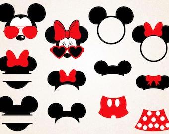 Mickey and Minnie SVG,PNG 300 ppi/Mickey monogram/minnie head/mickey silhouette/mickey ears/mickey svg/printable/disney svg/mickey circuit