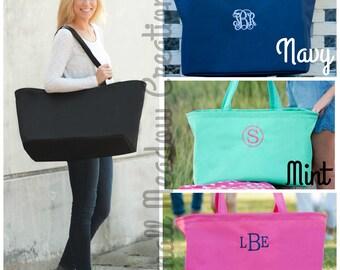 MONOGRAMMED XL Tote, Monogrammed Bag, Beach bag, Bridesmaid Gift, Game Day Bag, Pool Bag, Extra Large Beach Bag,Personalized Extra Large Bag