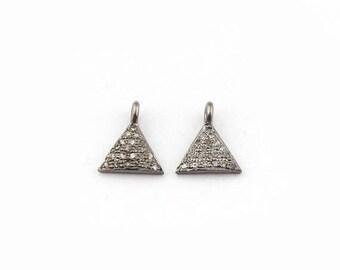 MEMORIAL DAY SALE 1 Pc Pave Diamond Trillion Charm 925 Sterling Silver Single Bail Pendant - Trillion Charm Pendant 10mmx9mm Pdc1086