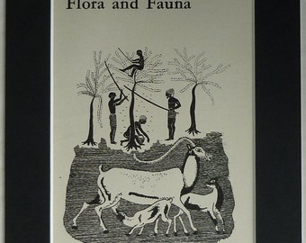 1940s Vintage Mounted Ancient Greek Print of Flora and Fauna Art of ancient Greece, animal husbandry and agriculture decor - Farming Gift