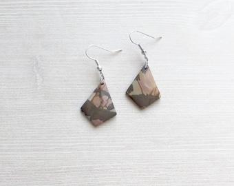 River Jasper Kite Shape Earrings in Sterling Silver