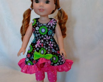 "14.5"" doll Capri's and top, made to fit wellie wishers and glitter girls"