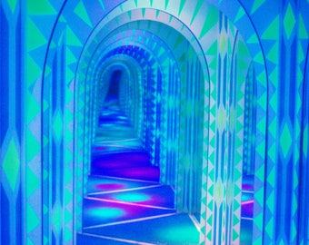 Neon Ice Palace Blank 5x7 Greeting Birthday Holiday Card Cards Trippy Psychedelic Photography Unique Eccentric Art Artwork Print Prints