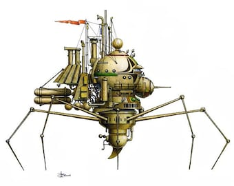"8 of 12 Fanciful Submarine Giclee Print on Fine Art Smooth Paper (16""x12"")"