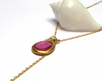 Tourmaline Pendant - Gold Pendant - 24 K Gold Pendant - Gold Necklace - Free Shipping!!!