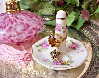 Vintage PINK ROSE PORCELAIN Ring Holder Vanity Dish