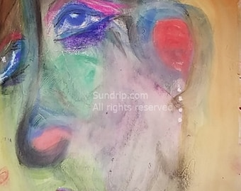 Art Lot Destash TWO PAINTINGS on Book Page Original Art Pastel Color Portraits