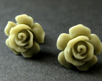 Army Green Flower Earrings. Khaki Green Earrings. Gardenia Flower Earrings. Bronze Post Earrings. Green Rose Earrings. Handmade Earrings.
