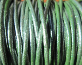 2mm metallic green leather cord, 10 yards / meter, High quality Spanish leather cord, leather working cord, string cord