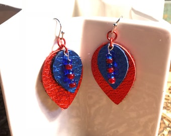 Genuine Leather Teardrop Earrings, Light Weight, Red & Blue, Beading