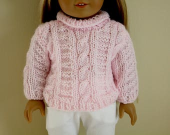 Pink Cable Knit Sweater for 18 inch dolls; fits American Girl