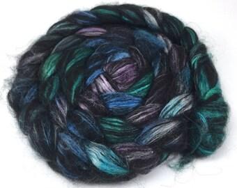 Spinning Fiber - Alpaca & Tussah Silk Combed Top - Black Jewels roving