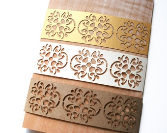 Laser Cut Belly Band with Bohemiam Moroccan Tile Motif: Custom Color