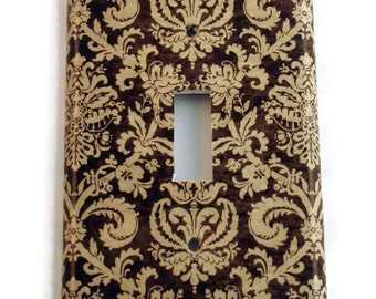 Switch Plate Light Switch Cover Wall Decor Light Switchplate  in Brown and Cream Damask (221S)