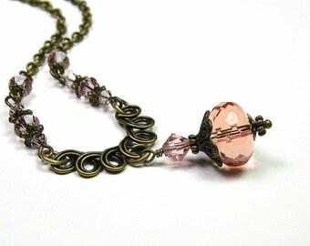 Vintage collier de Style, vieux Rose pêche tchèque en verre Style victorien, romantique bijoux, cadeaux de l'amour pour elle, jewelrybyNaLa