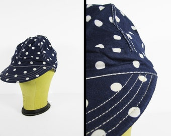Vintage Polka Dot Welders Cap Navy Blue 60s NOS Cloth Hat Deadstock Made in USA - 6 7/8
