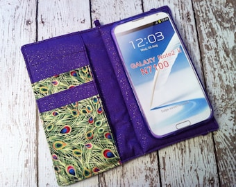 Samsung Galaxy Note, Galaxy Plus,, iPhone Plus wallet with removable gel case - Peacock print