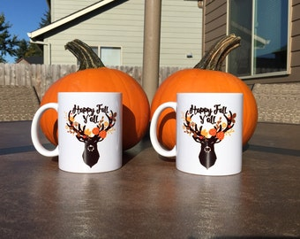 Happy Fall Y'all Mug // Deer Mug // Fall Deer Mug // Pumpkin Spice Mug // Fall // Fall Season Mug // Deer Floral Mug // Floral Deer // Y'all