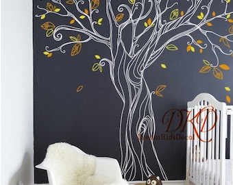 Tree wall Decal Wall Sticker Baby Nursery Decals Wall Decor-Blowing Tree Decal for Living room-DK290
