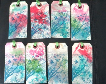Hand Colored Gift Tags, Handmade Gift Tags, Tim Holtz, Trees and Birds, Tree Gift Tags, Set of 8