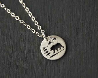 Sterling Silver Bear Pendant, Silver pendant, Small Silver Pendant, Silver Jewelry, Tree Pendant, West Coast Jewelry, Canadian Jewelry
