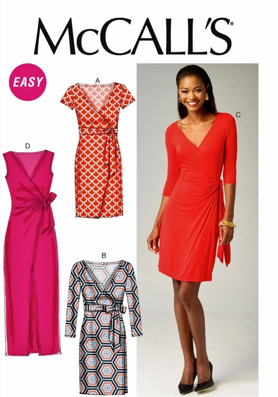 Sewing Pattern Mock Wrap Dress Pattern Stretch Knit Dress