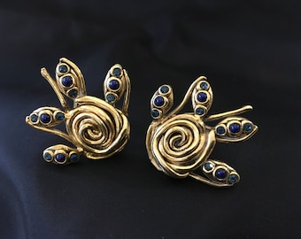 Vintage Taratata Paris French Clip-On Earrings. Golden Varnish Metal and Blue Rhinestones. Fashion XXL Earrings.