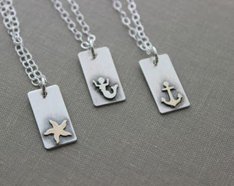 Sterling silver beach necklace - choice of Starfish, Mermaid or Anchor - Nautical jewelry - mixed metal - simple and modern