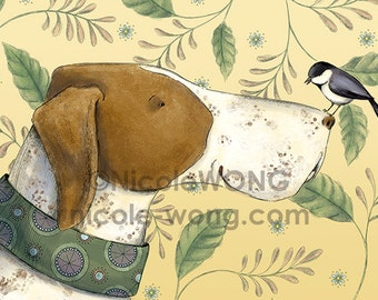 ACEO Print -- Pointer and the chickadee