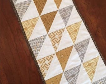 Modern Quilted Table Runner, Golden Hues