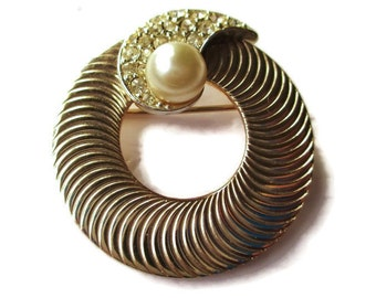 Vintage Marboux Goldtone and Rhodium Pave Paisley Eternity Faux Pearl Brooch Pin