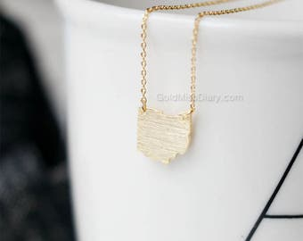 ohio State Necklace in gold, OH state gold necklace, state necklace, simple necklace, necklace for women