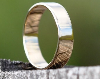 18K Yellow Gold Smooth Texture Hand Forged 6mm Band, Sea Babe Jewelry